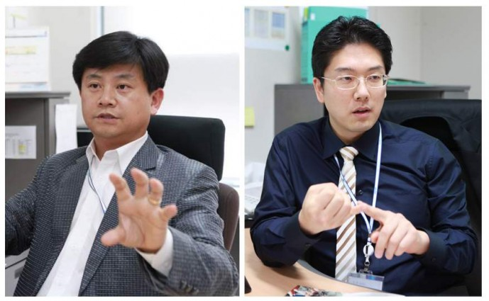 DGIST의 구재형(왼쪽) 교수와 김민수(오른 쪽) 교수는 융합연구진을 꾸려 바이러스 진단용 데이터베이스를 구축했다. - 대구경북과학기술원 제공
